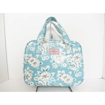 【中古】 キャスキッドソン ハンドバッグ 美品 ライトブルー 白 グレー 花柄 コーティングキャンバス