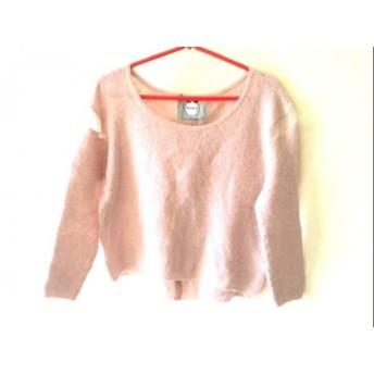 【中古】 リランドチュール Rirandture 七分袖セーター サイズ2 M レディース ピンク シースルー/ラメ