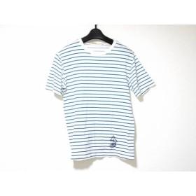 【中古】 ゴールデングース GOLDEN GOOSE 半袖Tシャツ サイズXS メンズ 白 ライトブルー ボーダー