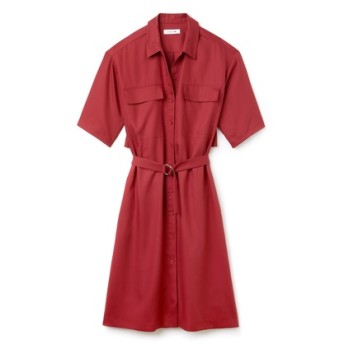ベルト付き ピケ シャツドレス