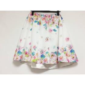 【中古】 チェスティ Chesty スカート サイズ0 XS レディース 美品 白 ピンク マルチ 花柄