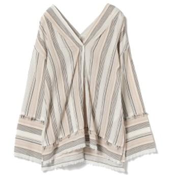 Ray BEAMS / ヨウリュウ フリンジ Vネックシャツ レディース カジュアルシャツ stripe ONE SIZE