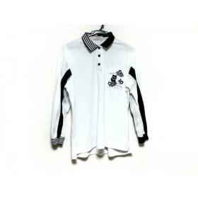 【中古】 アダバット Adabat 長袖ポロシャツ サイズM メンズ 白 黒 ライトグレー 刺繍/スター
