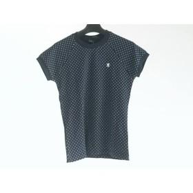 【中古】 ジムフレックス Gymphlex 半袖Tシャツ サイズ12 L レディース 美品 ネイビー 白 ドット柄