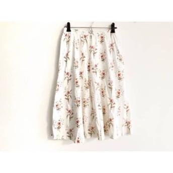 【中古】 アニエスベー agnes b スカート サイズ3 L レディース 白 マルチ 花柄