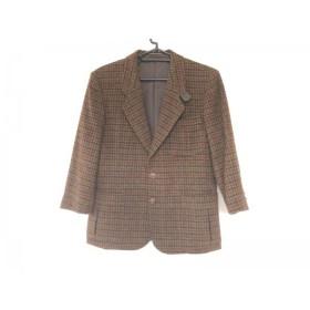 【中古】 ハリスツイード Harris Tweed ジャケット メンズ ダークブラウン 黒 マルチ 肩パッド