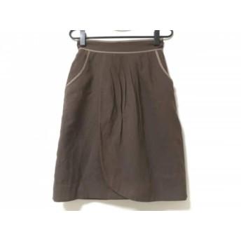 【中古】 ジャスグリッティー JUSGLITTY スカート サイズ2 M レディース ダークブラウン ベージュ