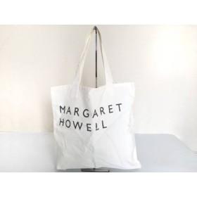 【中古】 マーガレットハウエル MargaretHowell トートバッグ 白 ダークグレー キャンバス