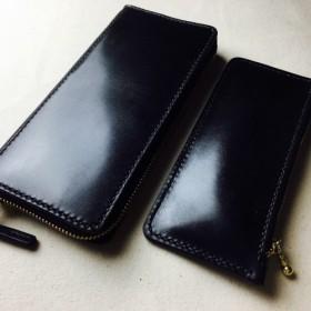 【手縫】ラウンドジップ黒色本革長財布(小銭入れ付)