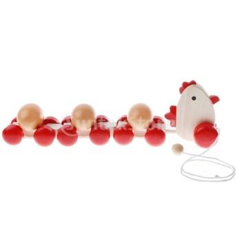 Sharplace 3卵 引っ張り鶏おもちゃ ブロック 子ども 知育おもちゃ 玩具 木製