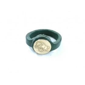 【中古】 イルビゾンテ IL BISONTE リング レザー 金属素材 ダークグリーン ゴールド