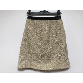 【中古】 ジャスグリッティー JUSGLITTY スカート サイズ2 M レディース ベージュ ゴールド スパンコール