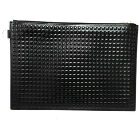 【中古】 バレンシアガ BALENCIAGA クラッチバッグ 美品 グリッドクリップ M 373142 黒 型押し加工 レザー
