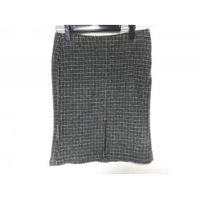 【中古】 バーバリーブルーレーベル スカート サイズ36 S レディース 美品 黒 アイボリー チェック柄