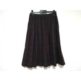 【中古】 レリアン スカート サイズ11 M レディース グレー レッド ダークグレー プリーツ/チェック柄