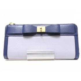 【中古】 ケイトスペード Kate spade 長財布 WLRU2587 グレー ブルー L字ファスナー レザー