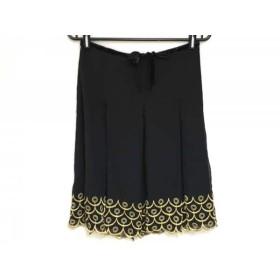 【中古】 アナスイ ANNA SUI スカート サイズ2 S レディース 美品 黒 ゴールド ラメリボン/刺繍