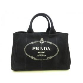 【中古】 プラダ PRADA トートバッグ 美品 CANAPA 1BG642 黒 アイボリー キャンバス
