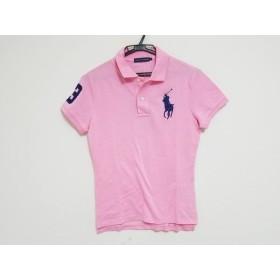 【中古】 ラルフローレン RalphLauren 半袖ポロシャツ サイズL レディース ビッグポニー ピンク ネイビー