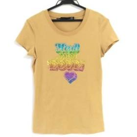 【中古】 モスキーノ MOSCHINO 半袖Tシャツ サイズd 38 レディース イエロー マルチ LOVE/ハート