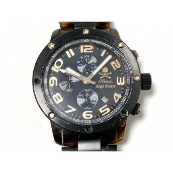 【中古】 ロエン Roen 腕時計 ES43 レディース AngelClover/クロノグラフ 黒