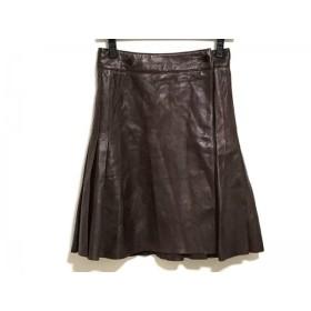 【中古】 ポウ PAUW スカート サイズ0 XS レディース ダークブラウン レザー