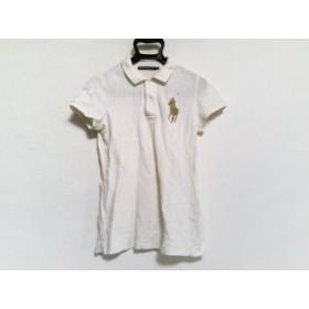 【中古】 ラルフローレンゴルフ 半袖ポロシャツ サイズS レディース ビックポニー アイボリー ゴールド