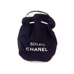 【中古】 シャネル ワンショルダーバッグ - 黒 白 SOLEIL CHANEL/巾着バッグ/ノベルティ キャンバス