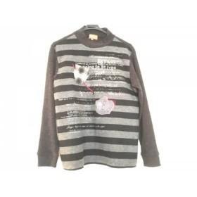 【中古】 アンジェロガルバス 長袖セーター サイズM メンズ ダークグレー グレー ボーダー/ハイネック