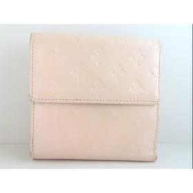 【中古】 パトリックコックス PATRICK COX Wホック財布 ベージュ 型押し加工 レザー