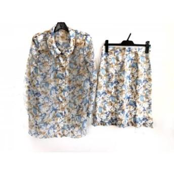 【中古】 ユキトリイ YUKITORII スカートセットアップ サイズ11 M レディース 美品 白 ブルー ブラウン