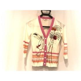 【中古】 チェスティ Chesty カーディガン サイズF レディース 白 ピンク マルチ 刺繍/スパンコール