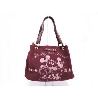 【中古】 サマンサタバサ ハンドバッグ ボルドー ダークブラウン Disney キャンバス 合皮