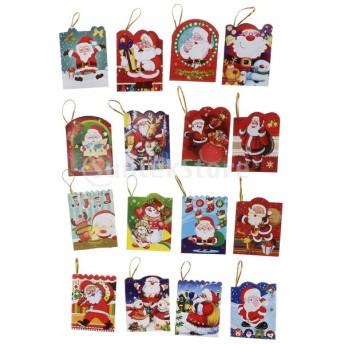 ミニ クリスマス グリーティングカード メッセージカード ツリー飾り 挨拶状 9タイプ選べ - 128枚B