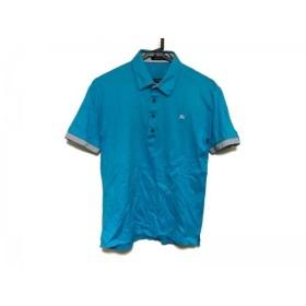 【中古】 バーバリーブラックレーベル 半袖ポロシャツ サイズ2 M メンズ ライトブルー 白 黒