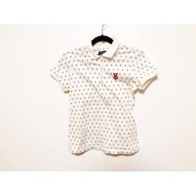 【中古】 パーリーゲイツ 半袖ポロシャツ サイズ1 S レディース アイボリー レッド ウサギ柄/刺繍