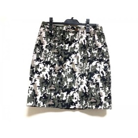 【中古】 ニジュウサンク 23区 巻きスカート サイズ40 M レディース ダークグリーン ベージュ 黒 迷彩柄