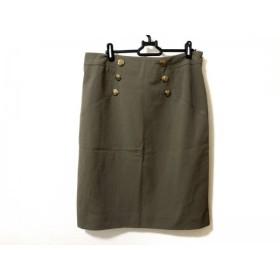【中古】 レリアン Leilian スカート サイズ13+ S レディース カーキ