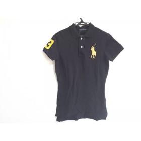【中古】 ラルフローレン 半袖ポロシャツ サイズL レディース 美品 ビッグポニー 黒 ゴールド