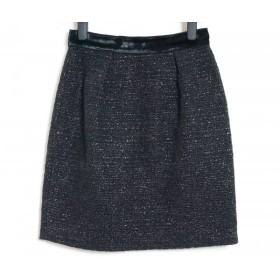 【中古】 ディーアンドジー D & G ミニスカート サイズ36 S レディース 美品 ダークネイビー 黒 ラメ