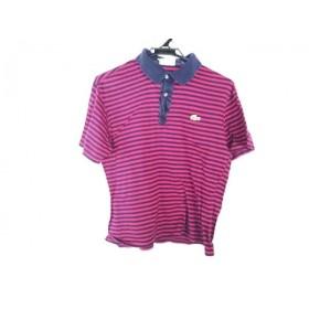 【中古】 ラコステ Lacoste 半袖ポロシャツ サイズ3 L メンズ ネイビー ボルドー ボーダー