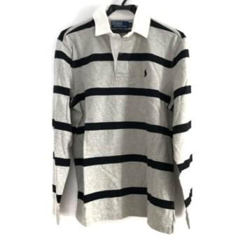 【中古】 ポロラルフローレン 長袖ポロシャツ サイズS メンズ ライトグレー 黒 白 ボーダー