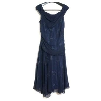 【中古】 ラデファンス La Defence ドレス サイズ13 L レディース 美品 ネイビー ラインストーン