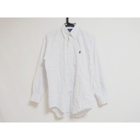 【中古】 ラルフローレン RalphLauren 長袖シャツ サイズS メンズ 美品 白 ライトブルー チェック柄