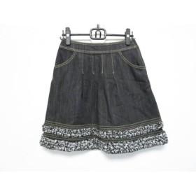 【中古】 エムズグレイシー M'S GRACY スカート サイズ38 M レディース 黒 白 デニム