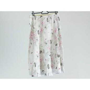 【中古】 ツモリチサト TSUMORI CHISATO スカート サイズ2 M レディース 白 ピンク マルチ 蝶/ラメ