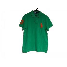 【中古】 ポロラルフローレン 半袖ポロシャツ サイズL メンズ ビッグポニー ライトグリーン オレンジ