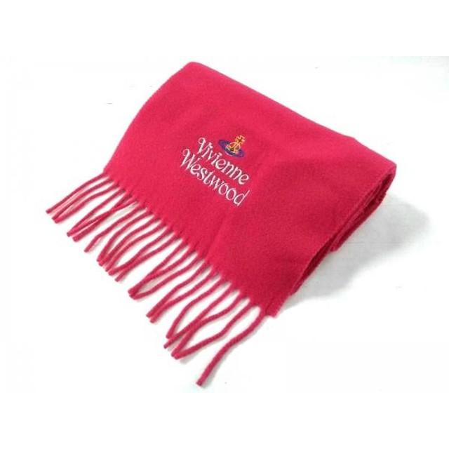 【中古】 ヴィヴィアンウエストウッド VivienneWestwood マフラー 25 180 美品 ピンク マルチ ウール