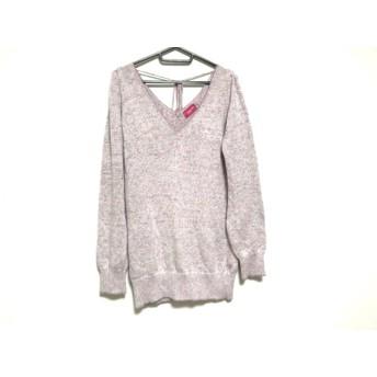 【中古】 アプワイザーリッシェ Apuweiser-riche 長袖セーター サイズ2 M レディース ピンク マルチ ラメ