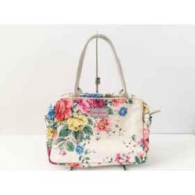 【中古】 キャスキッドソン ハンドバッグ 美品 ベージュ ピンク マルチ 花柄 コーティングキャンバス